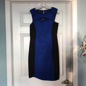 AGB knee-length dress black & blue size 8